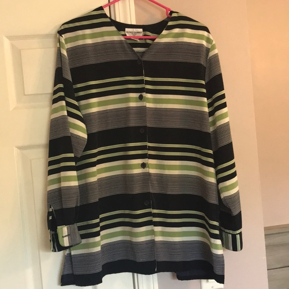 Alfred Dunner Striped Button Blouse